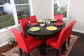 get ations red leather 7pc oval solid top dining table contemporary cappuccino finish solid wood dining table chairs