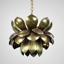 vintage brass lotus flower chandelier light pendant tommi parzinger antique pair 293472877