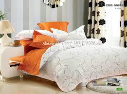 home design premium cotton orange white line modern pattern duvet quilt covers 4pc queen bedding sets
