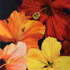 hibiscus acrylic painting deep canvas