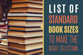 list of book sizes standard sizes for