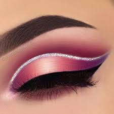 beautiful pink purple halo eye with silver glitter lined crease black winged liner