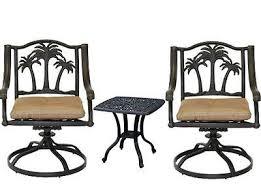 aluminum patio chairs. 3 Piece Bistro Set Cast Aluminum Patio Furniture Palm Tree Chairs Elisabeth End Table Desert Bronze