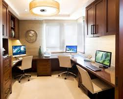 wrap around office desk. example of a trendy builtin desk beige floor home office design in los angeles wrap around d