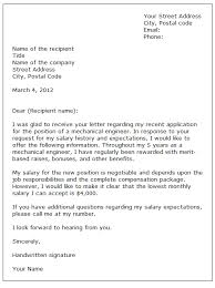 salary expectations cover letter employment letter sample