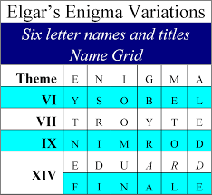 6 letter name elgars enigma theme unmasked six 6 letter names and elgars 6 x 6