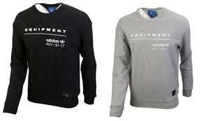 Details About Adidas Men Equipment Crew Sweats Shirts L S Black Gray Tee Jersey Shirt Cd1711