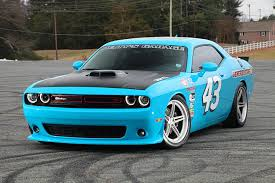 Light Blue Challenger Blue Dodge Challenger Fitted With Aftermarket Side Skirts