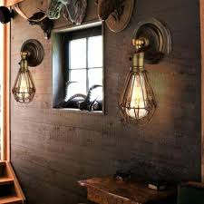 2019 edison vintage wall light chandeliers rustic wire cage hanging wall light industrial cage light bedroom corridor aisle wall lamps from flymall