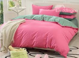 56 solid pink and green color blocking cotton 4 piece bedding sets duvet cover