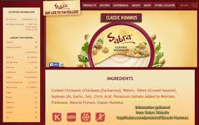 information was gathered directly from the sabra sabra was my favorite brand for hummus