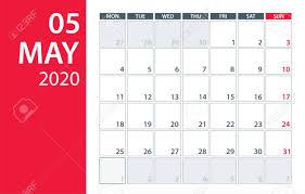Calendar May 2020 May 2020 Calendar Planner Vector Template Mock Up