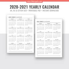 2020 Year At A Glance Calendar Template 2020 2021 Yearly Calendar Year At A Glance Digital Printable Planner Inserts Sunday Start Black White Filofax A5 A4 Letter Size