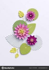 Paper Lotus Flower 3d Render Paper Lotus Flowers Wall Decoration Pink Water