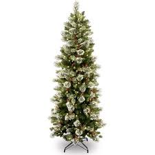 National Tree Pre-Lit 7-1/2' Wintry Pine Slim Hinged Artificial ...