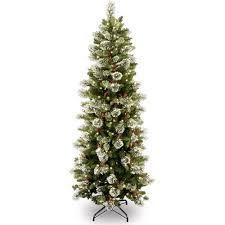 National Tree Pre-Lit 7-1/2' Wintry Pine Slim Hinged Artificial ...