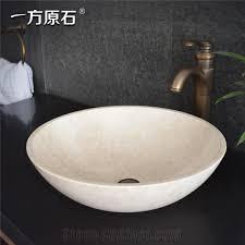 sunny beige marble round wash basin natural stone basin kitchen sinks bathroom sinks wash bowls china hand made bathroom washing basin counter top and