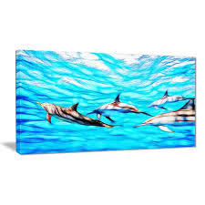 on dolphin canvas wall art with design art family of dolphins canvas wall art walmart canada