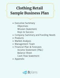 Clothing Retail Sample Business Plan Bplans