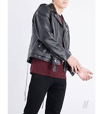 leather jackets uk saint lau men saint lau blood er embellished leather jacket black