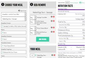 taco bell nutrition calculator