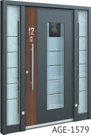 grey contemporary front doors uk with wood and glass inserts