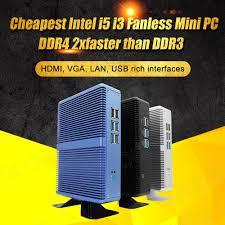 Eglobal Giá Rẻ Quạt Không Cánh Mini PC Windows 10 Pro Intel Core I7 I5  7200U I3 7100U Barebone Máy Tính DDR4/DDR3 2.4GHz 4K HTPC Wifi PC mini
