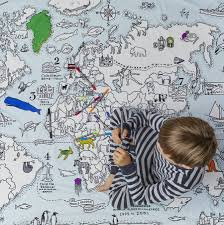 world map duvet colour and learn