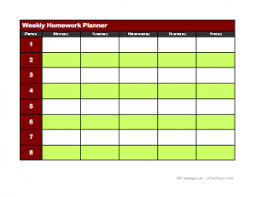 weekly assignment template weekly homework planner 2 freeology