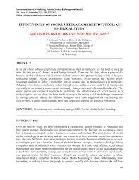 Pdf Effectiveness Of Social Media As A Marketing Tool An Empirical