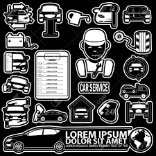 Car mechanic with tools and spare parts icons in vector style