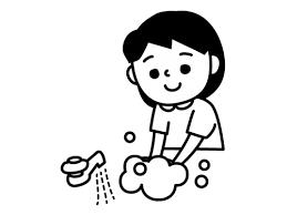 手洗いする子供の白黒イラスト02 かわいい無料の白黒イラスト モノぽっと