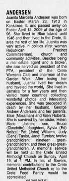 Obituary for Juanita Marcella ANDERSEN, 1913-2009 (Aged 96) - Newspapers.com