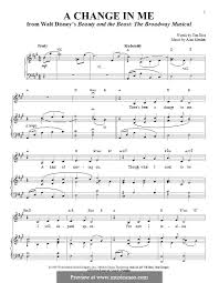 a change in me beauty and the beast sheet music a change in me from beauty and the beast the broadway musical by