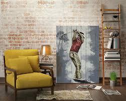 3d golfer painting wall modern wall art