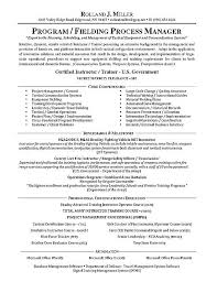 process manager resume example military resume example