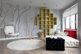 Appealing Teen Bedroom Design With Interesting Wallpaper Unusual Bookshlef  White Sofa Bed White Round Rug And Wooden Floor Image