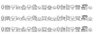 デフォルメした家と木の並び線画手書き風 イラスト素材 5188357