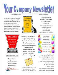 Examples Of Company Newsletters Example Company Newsletter Jpg From Carter Collage In Yukon