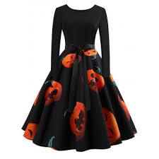 [44% OFF] 2019 Retro <b>Pumpkin Printed Halloween</b> Dress In <b>BLACK</b> ...