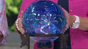 led glass gazing ball with metal stand by evergreen on qvc