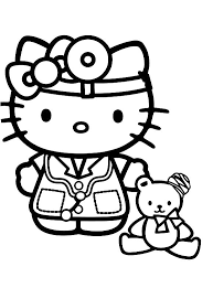 Docter Hello Kitty Coloring Pages Hello Kitty Cartoon Coloring