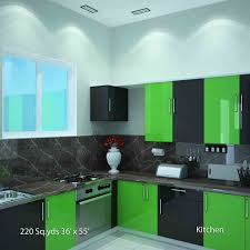 Likable Home Interior Small Kitchen With Light Green Wooden Base - Kitchen interiors