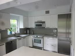 modern kitchen backsplash with white cabinets.  With White Kitchen Cabinets And Grey Backsplash Inside The With  Glass Window For Modern With