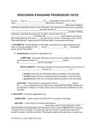 Promissory Note Parties Free Wisconsin Promissory Note Templates Word PDF eForms 1