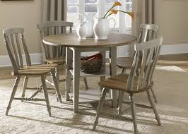drop leaf leg round dining table with solids rubberwood driftwood taupe finish