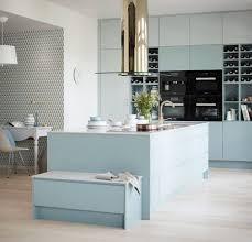 Light Gray Cabinets Kitchen Minimalist Scandinavian Blue Tile Backsplash Light Gray Cabinets
