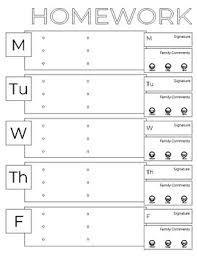Weekly Homework Weekly Homework Chart Magdalene Project Org