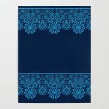 Retro Vintage Blue Lace On Dark Blue Background Poster By Fuzzyfox85