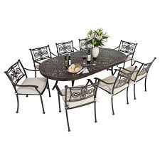 cast aluminium 213 x106cm large oval table with 8 knot chairs black